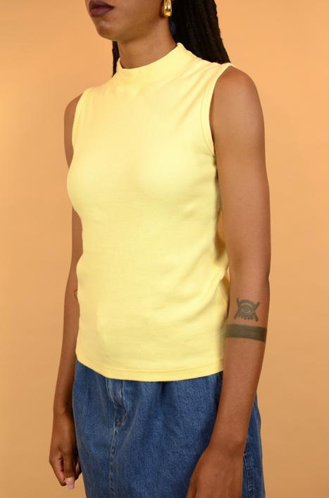 Vintage Yellow Sleeveless Mockneck Ribbed Blouse by MAWSUPPLY