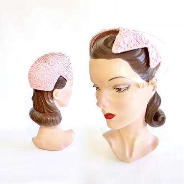 1950s Pink Sequin Cocktail Hat - Vintage Pink Cocktail Hat - 1950s Pink Sequin Hat - 1950s Pink Cocktail Hat - 1950s Womens Hat by VeraciousVintageCo