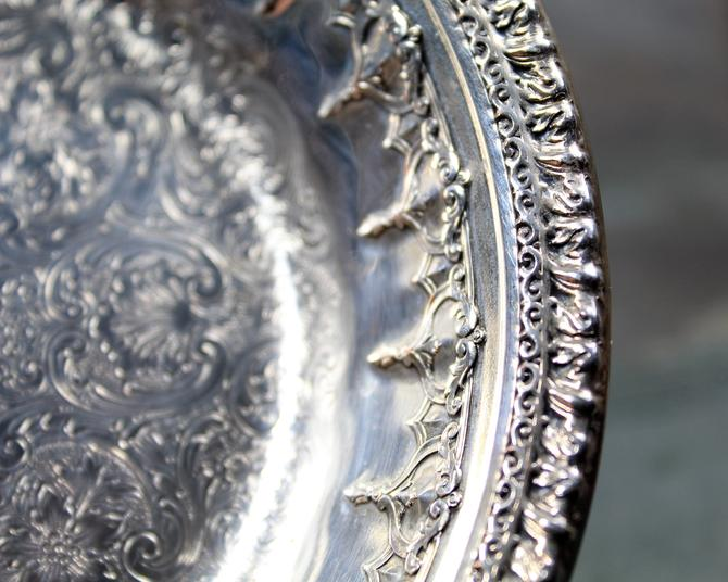 "Reed & Barton Engraved Silver Bowl - Reed and Barton #1302 - 6"" Small Ornate Silver-plate Bowl  