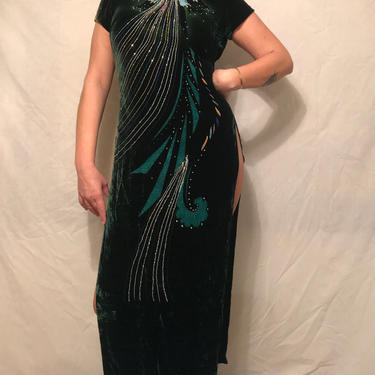 1960s Velvet and Silk Hand-painted Cheongsam Dress    Forest Green w/High Slits    Size S by CelosaVintage