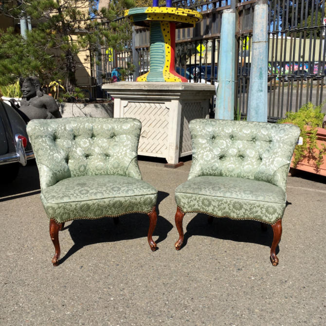 Pair of Mid-Century Green Chairs