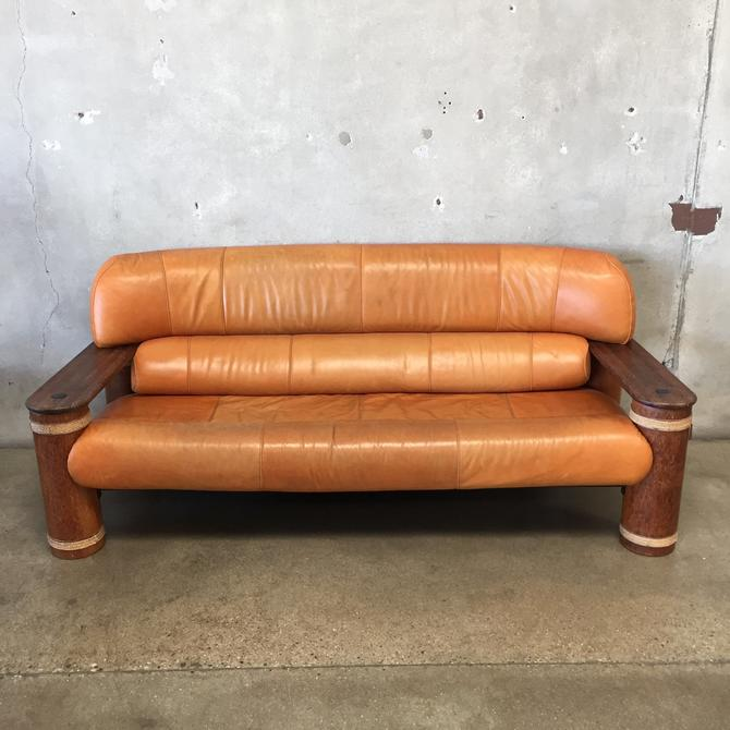 Leather and Palmwood Sofa by Pacific Green