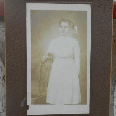 Antique Photo of Young Woman Victorian Girl Black White Vintage Photography by kissmyattvintage