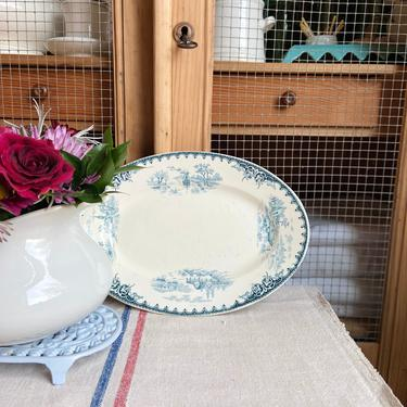 Beautiful vintage French ironstone oval serving plate-OSP by Grainsacfrenchvintag