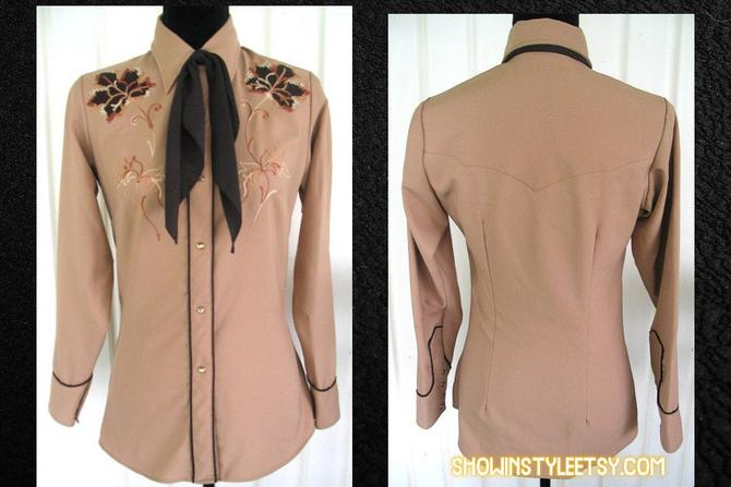 Vintage Western Women's Cowgirl Shirt by Miller, Embroidered Leaves in Brown Tones, Tag Size 10/32, Approx. Small (see meas. photo) by ShowinStyle