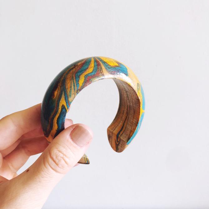 Vintage painted wooden cuff / bangle bracelet by TheDistilleryVintage