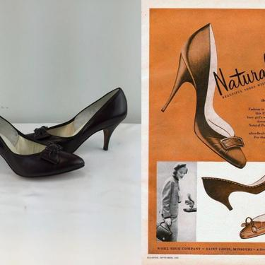 Always Keep Your Natural Poise - Vintage 1950s 1960s NOS Chocolate Brown Leather Heels Pumps Shoes - 7B by RoadsLessTravelled2