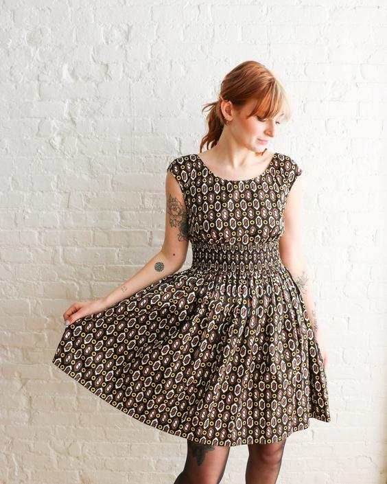 Prada Printed Fit & Flare Mini Dress, Size S