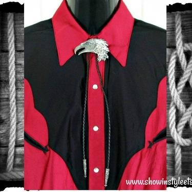 Bolo Tie for Western Shirts, Large Eagle's Head, Polished Silver Tone with Black Braided Cord, String Tie by ShowinStyle