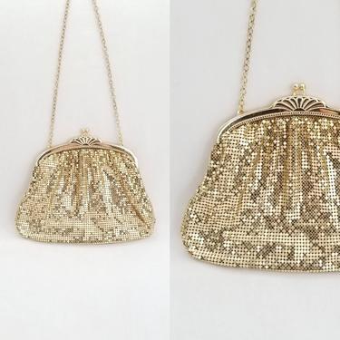 Gold Whiting & Davis Mesh Bag ~ Shiny Metal Framed Evening Bag ~ Prom Wedding Special Occasion Purse Clutch Handbag by SoughtClothier