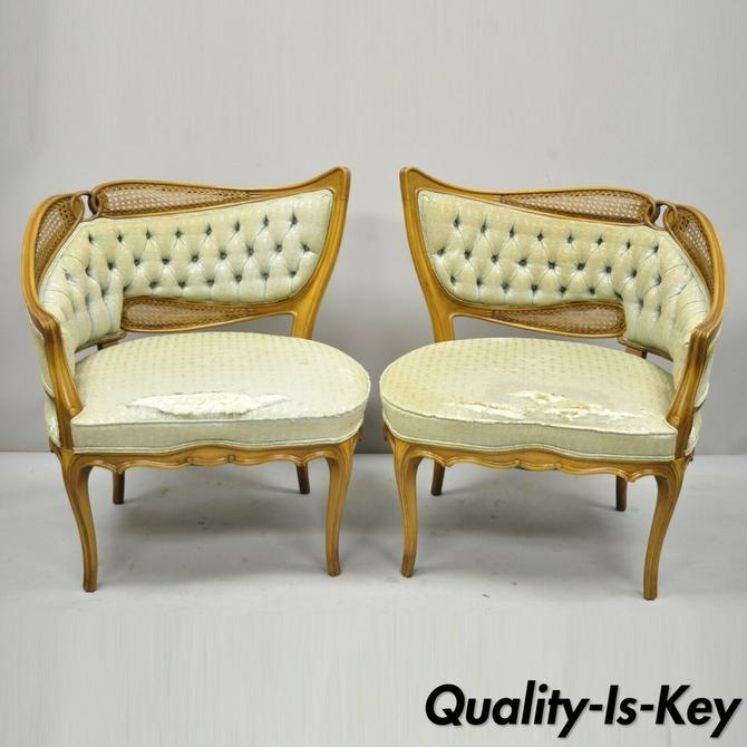 Pair of Vintage French Hollywood Regency Art Deco Sculpted Frame Lounge Chairs