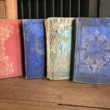 19th C French School Books, Stacking Display, Set of 4, Library, Office, Bookshelf, Coffee Table Books by JansVintageStuff