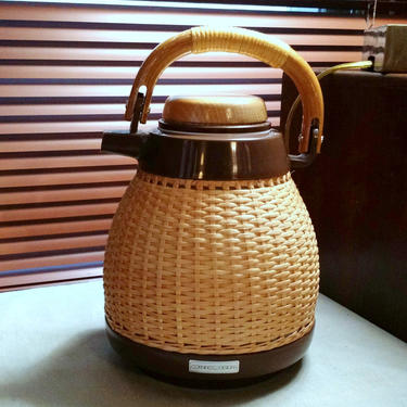 Vintage Mid Century CORNING DESIGNS Thermos Carafe Tea Coffee Server Wicker Rattan Basket Weave Handle Glass Liner MCM Japan Ex Condition by FultonLane