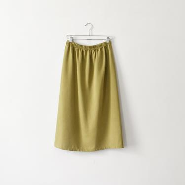 vintage olive tencel midi skirt with elastic waist, size M / L by ImprovGoods