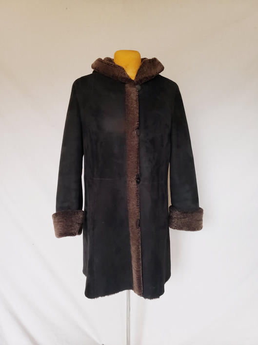 Vintage Marco Gianotti Swing Coat Hooded Black Suede Brown Shearling Fur Winter Parka L by RareJuleVintage