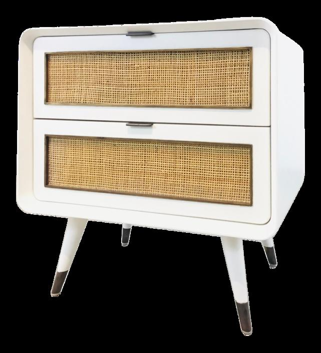 Bungalow 5 Mid-Century Modern Style White Malmo 2-Drawer Side Table