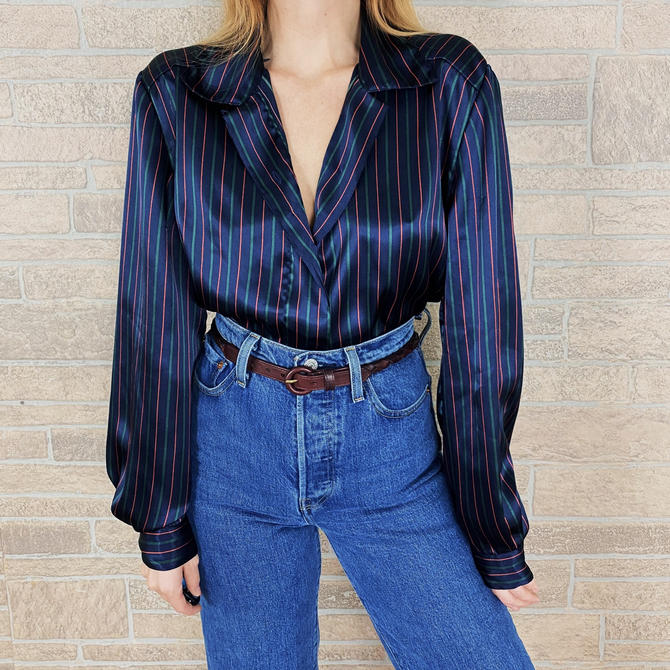 Vintage Chic Silky Striped Button Up Blouse by NoteworthyGarments