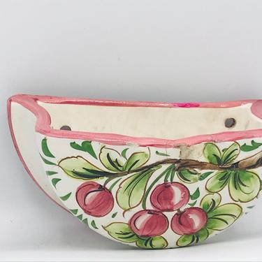 "Vintage Cer-Brogi Italian Pottery Wall ceramic Wall pocket Vase Planter cherry  design- ITALY 8"" X 4 3/4""X 4"" by JoAnntiques"