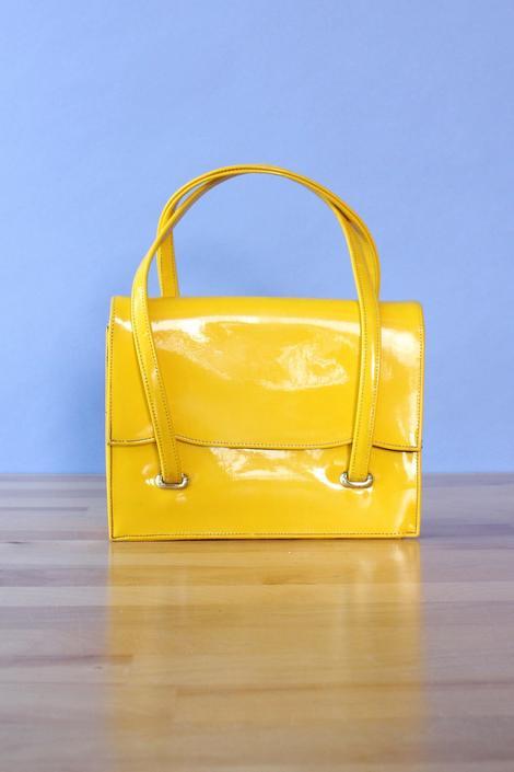 Lemon Yellow Vinyl Handbag