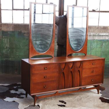 SOLD**ICONIC 3 pcs Set- Broyhill Brasilia Credenza Sideboard Walnut Mid Century Danish Minimalist Dresser McM 60s + TWO Very Rare Mirrors by CatchMyDriftVintage