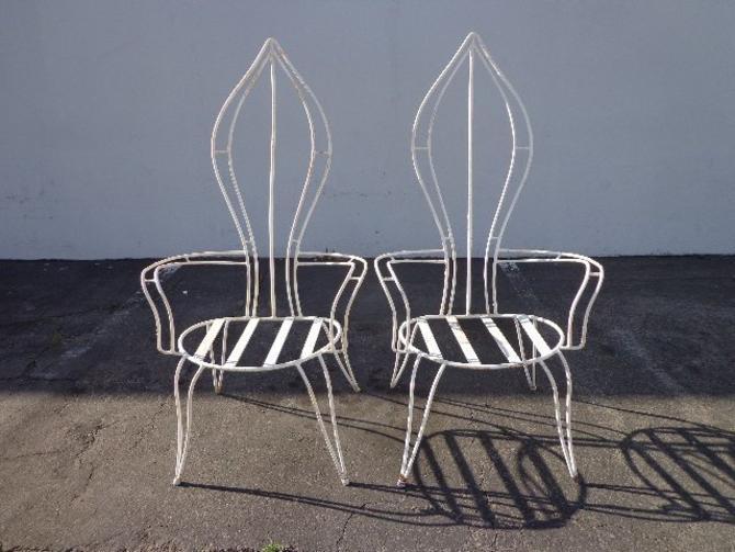 Enjoyable Mid Century Modern Furniture Chairs Pair Patio Metal Chair Bralicious Painted Fabric Chair Ideas Braliciousco