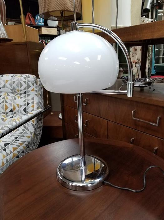 Mid-Century Modern chrome table lamp with adjustable arm