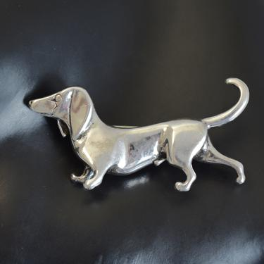80's Jezlaine sterling daschund brooch, charming 925 silver abstract weiner dog designer pin by BetseysBeauties