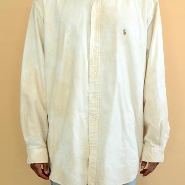 Vintage 80s 90s Ralph Lauren Hand Tie Dyed Tan Beige Off White Long Sleeve Oxford Button Down Big Shirt XL XXL Oversize Denim by MAWSUPPLY