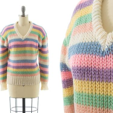 Vintage 1970s 1980s Sweater | 70s 80s Pastel Striped Colorful Acrylic Knit Long Sleeve Pullover Sweater Top (xs/small/medium) by BirthdayLifeVintage