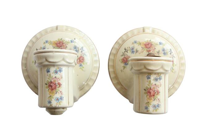 Pair of Vintage White Ceramic Floral Bathroom Wall Sconces