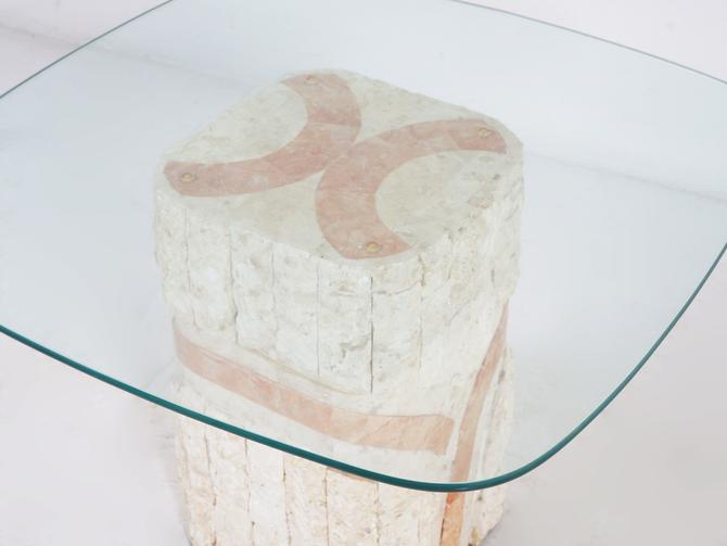 Travertine and Marble End Table by BetsuStudio