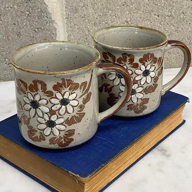 Vintage Mug Set Retro 1980s Bohemian + Ceramic + Floral Design + Hand Made + Set of 2 Matching + Coffee or Tea + Kitchen Decor + Drinking by RetrospectVintage215