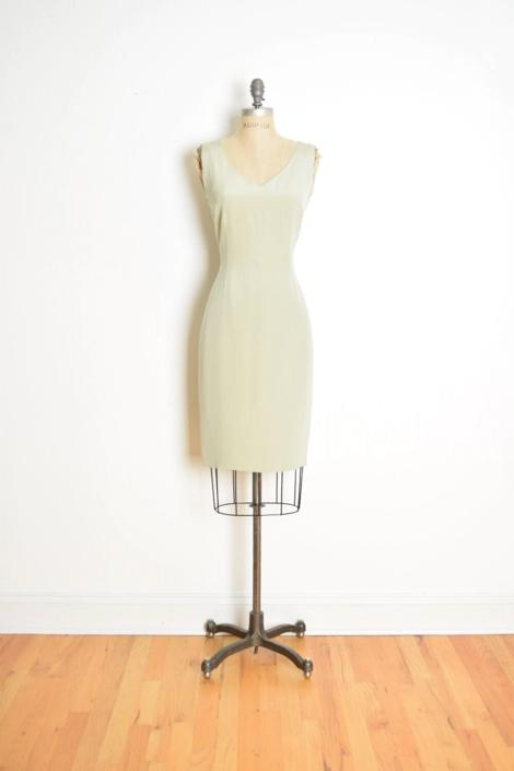 vintage 90s dress Sylvia Heisel moss green silk simple hourglass mini dress S by huncamuncavintage