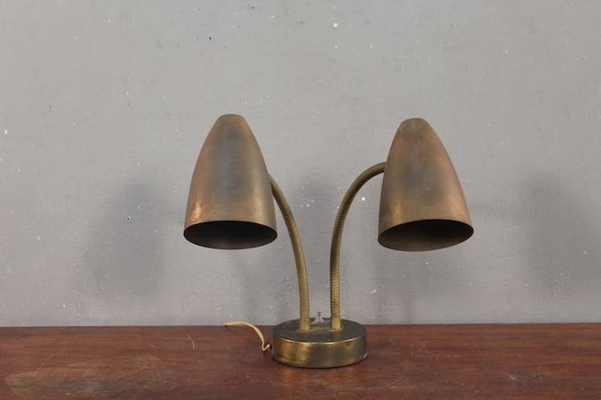 Atomic Tarnished Brass 2-Headed Gooseneck Table Lamp – ONLINE ONLY