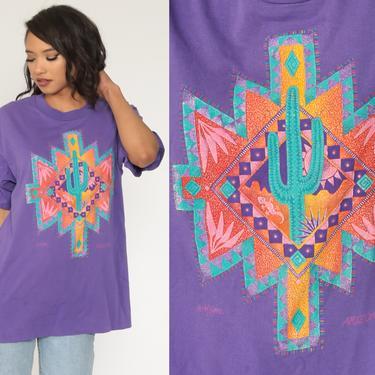 Cactus Shirt ARIZONA TShirt 90s Shirt SAGUARO Vintage Retro T Shirt Desert Tee Graphic Print Purple 1990s Southwest Travel Medium by ShopExile