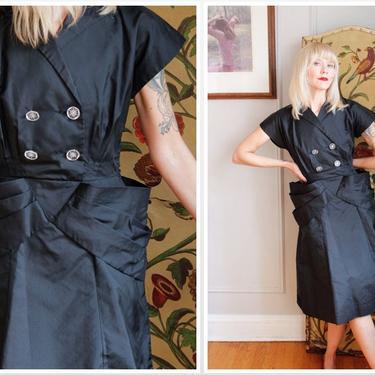 1940s Dress // Paul Sachs Taffeta Silk Dress // vintage 40s dress by dethrosevintage