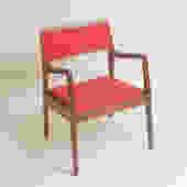 Pair Of Jens Risom Walnut Arm Chairs Circa 1950 C-140s