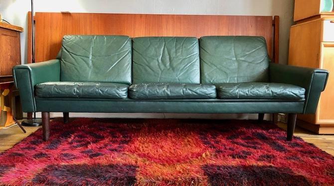 Danish Green Leather Sofa by Svend Skipper