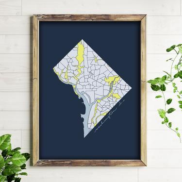 Art Print // Washington, DC Blue // 5x7 + 8x10 Hand Drawn Map of DC Neighborhoods by BillieClaireHandmade