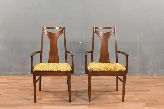 Mid Century Walnut & Gold Floral Armchair – ONLINE ONLY