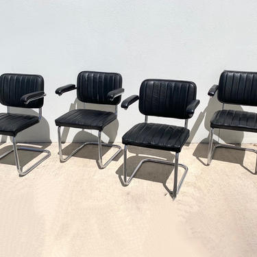Thonet Black Leather and Steel Cantilever Chairs