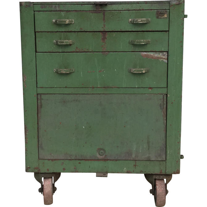 Industrial Green Cabinet on Casters