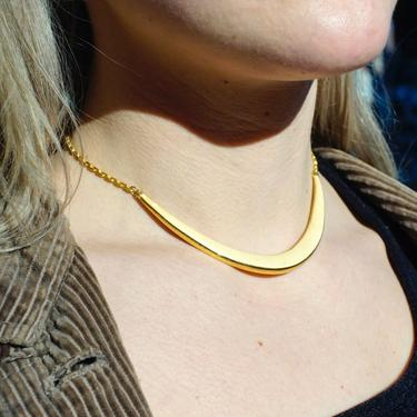 Vintage Gold Tone & White Enamel Curved Bar Collar Necklace, Unique Crescent Panel Choker, Fun Costume Jewelry, Statement Necklace by shopGoodsVintage