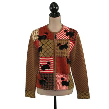Scottie Dog Sweater, Zip Up Novelty Appliqued Cotton Knit Cardigan Medium, 90s Vintage Clothing, Holiday Clothes Women, 1990s Susan Bristol by MagpieandOtis