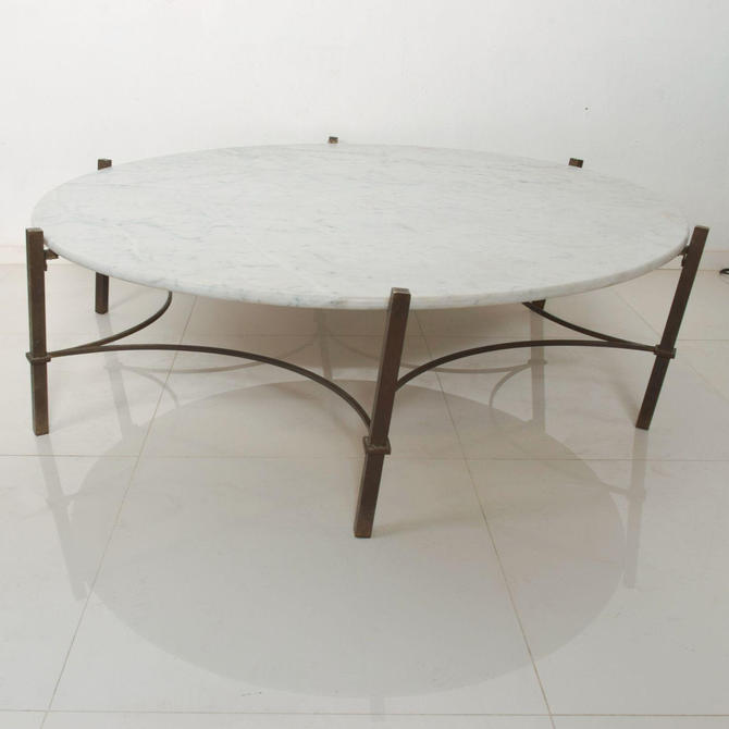 Marble Coffee Table in Bronze Hexagon Swirl Base by Arturo Pani Mexico by AMBIANIC