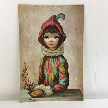Vintage Jean Maio Harlequin Big Eyed Girl Print Picture Wall Plaque Set Mardi Gras 1960s Kitsch Lithograph Board Flowers Jester Prints Eye by CheckEngineVintage