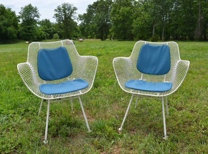 Vintage Russell Woodard Sculptura Metal Mesh Wrought Iron Arm Chairs Pair  Mid Century Modern by HearthsideHome