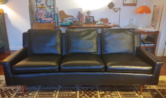 Mid Century Modern 3 Seat Black Vinyl Sofa w Tapered Legs c 1965 by ModandOzzie