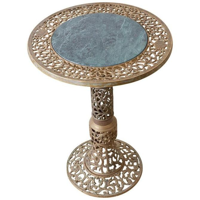 Chinese Reticulated Brass and Marble Top Drink Table by ErinLaneEstate