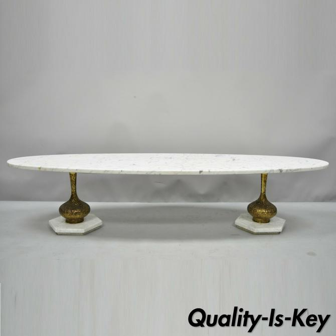 "Vtg Italian Hollywood Regency 70"" Long Oval Surfboard Marble Top Coffee Table"
